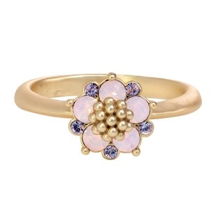 Isla Simone Gold Plated Water Opal and Lavender Flower Ring, Made with Swarovski Crystal Elements