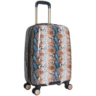 Aimee Kestenberg Aruba Collection 20-inch Hardside Python Printed 8-Wheel Expandable Carry-On Suitcase