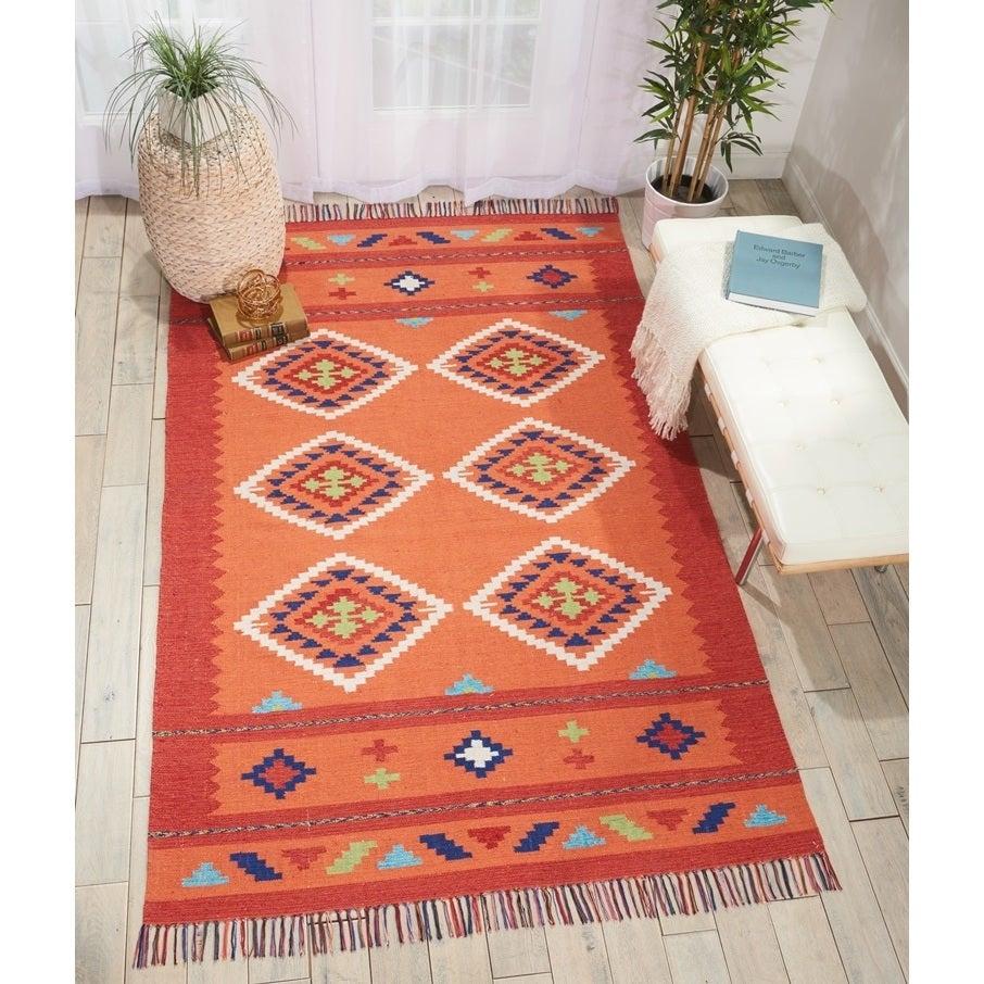 Nourison Baja Collection Moroccan Orange/Red Kilim Area