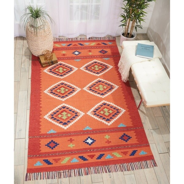Nourison Baja Collection Moroccan Orange/Red Kilim Area Rug (8' x 10') - 8' x 10'