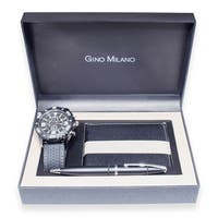 Men's Sporty Gino Milano Gift Set with Matching Watch, Wallet & Pen
