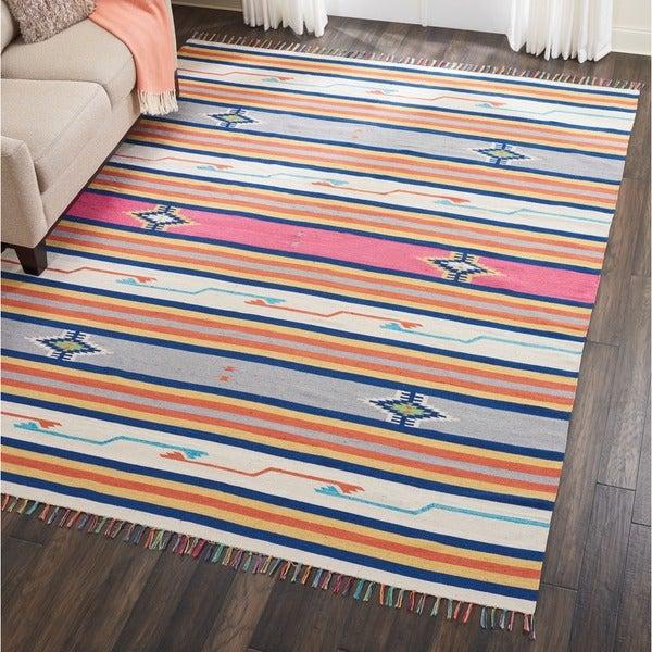 Nourison Baja Multicolored Moroccan Area Rug (8' x 10') - 8' x 10'