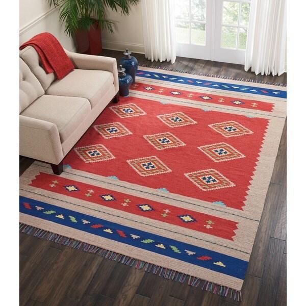 """Nourison Baja Moroccan Red/Beige Area Rug (6'6 x 9'6) - 6'6"""" x 9'6"""""""