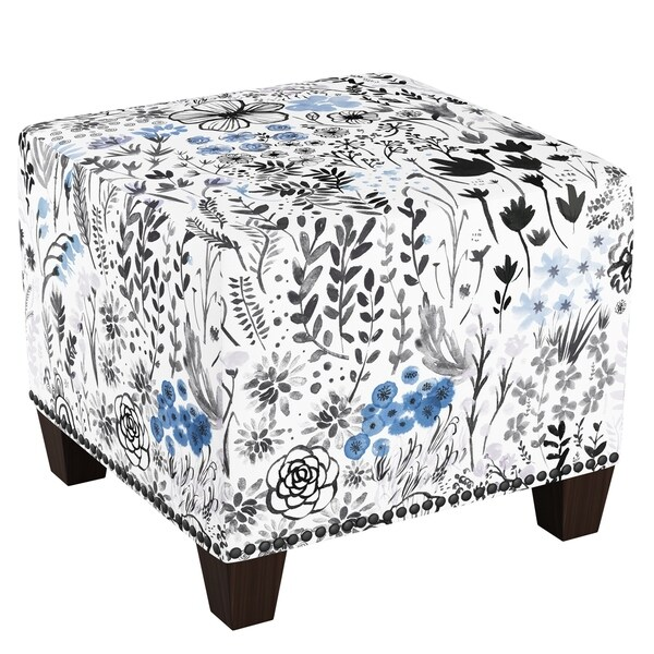 Skyline Furniture Nail Button Ottoman In Winter Botanical