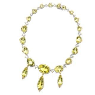 Michael Valitutti Palladium Silver Ouro Verde & Crystal Quartz Statement Necklace
