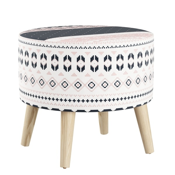 Skyline Furniture Ottoman In Nordic Sweater Navy Blush