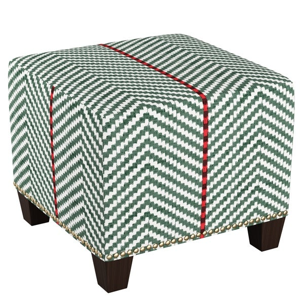Skyline Furniture Nail Button Ottoman In Broken Twill Evergreen Lga