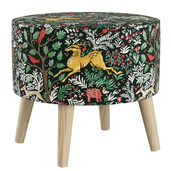 Skyline Furniture Ottoman In Frolic Evergreen