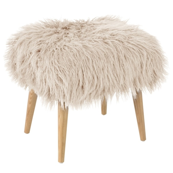 Skyline Furniture Ottoman In Fur   Free Shipping Today   Overstock.com    24197047