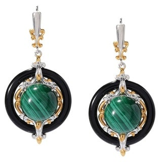 Michael Valitutti Palladium Silver Malachite & Onyx Drop Earrings