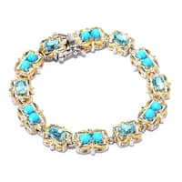 Michael Valitutti Palladium Silver Sleeping Beauty Turquoise & Blue Zircon Tennis Bracelet