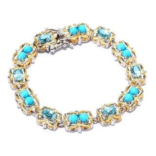 Michael Valitutti Palladium Silver Sleeping Beauty Turquoise & Blue Zircon Tennis Bracelet