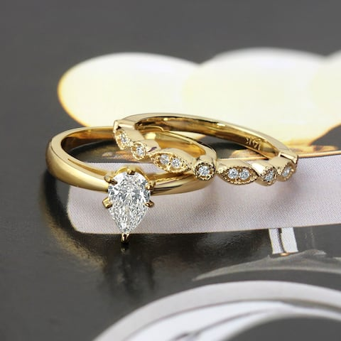 Auriya Vintage Stackable 1/2ctw Pear Shaped Solitaire Diamond Engagement Ring Set 14K Gold
