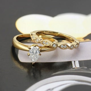 Auriya 14k Gold 1/2ctw Vintage Pear Shaped Solitaire Diamond Engagement Ring Set
