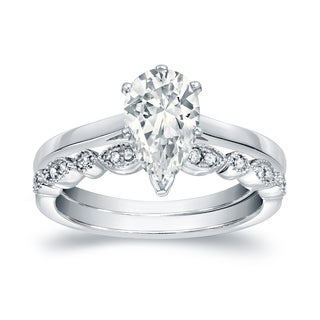 Auriya 14k Gold 1 1 6ctw Vintage Pear Shaped Solitaire Diamond Engagement Ring Set