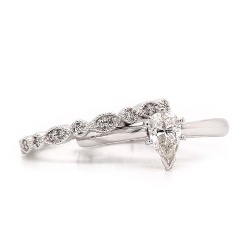 Auriya Vintage Stackable 2/3ctw Pear Shaped Solitaire Diamond Engagement Ring Set 14K Gold