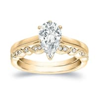 Auriya 14k Gold 1ct TDW Certified Pear Diamond Engagement Wedding Ring Set - White H-I