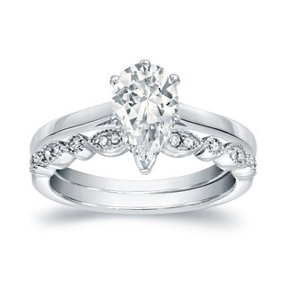 Auriya 14k Gold 7/8ct TDW Vintage Certified Pear-Shaped Diamond Solitaire Engagement Ring Set