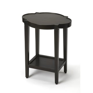 Butler Jobert Traditional Black Quatrefoil Oval Wooden End Table