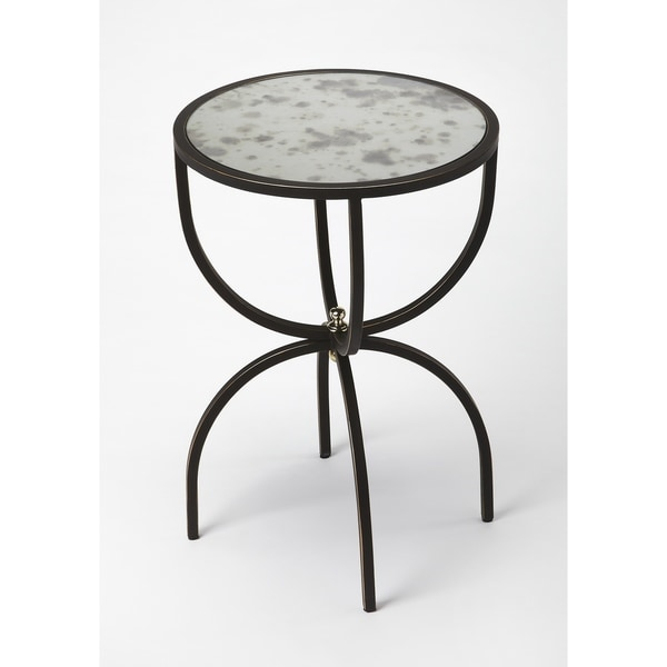 Butler Elon Black Metal Side Table With Mirrored Glass Top