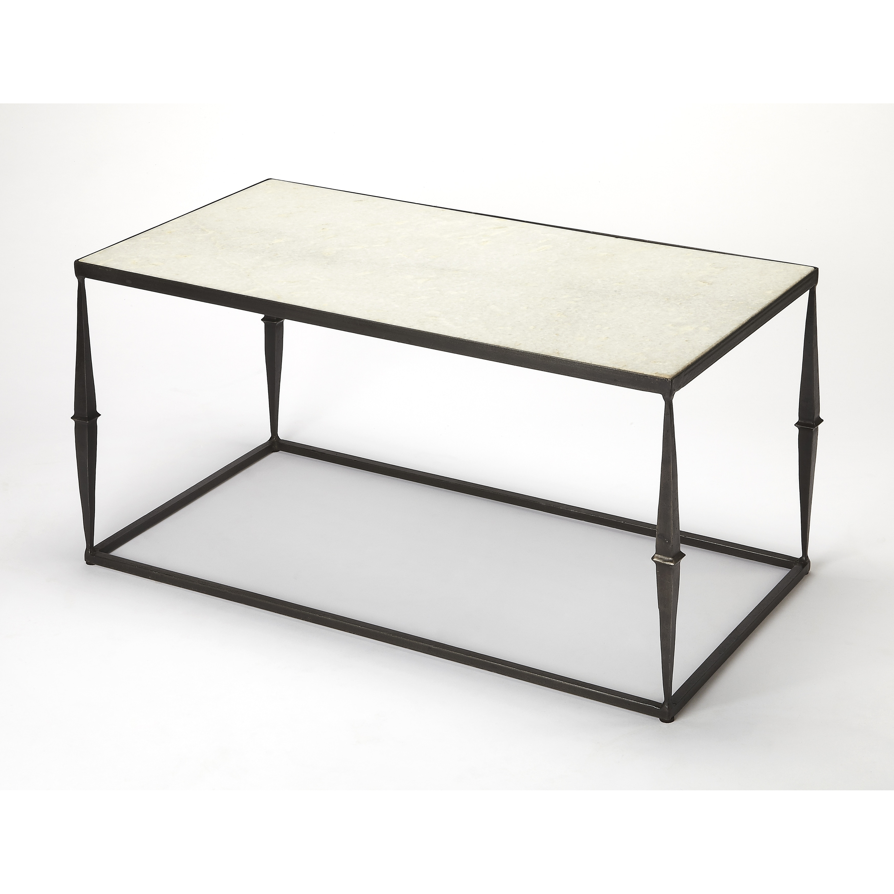 Butler Jacoby White Marble Coffee Table, Multi