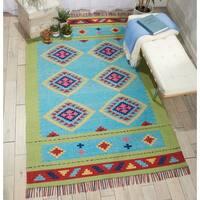 Nourison Baja Moroccan Blue Green Area Rug - 5' x 7'