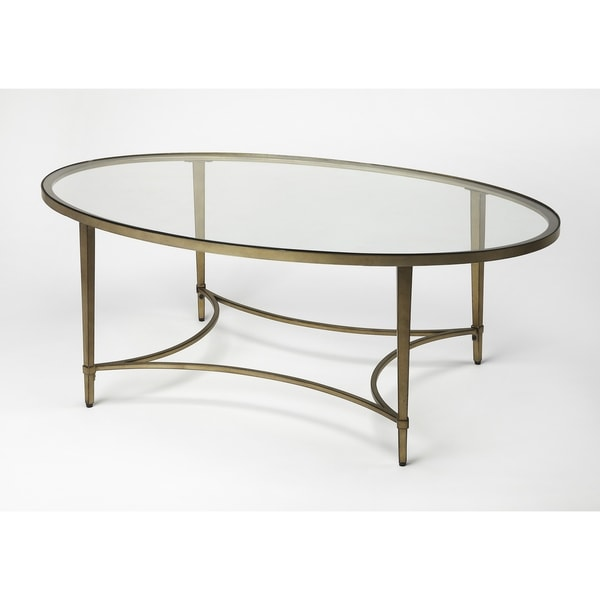 Attrayant Shop Butler Monica Gold Oval Metal Coffee Table   Free Shipping Today    Overstock   18029905