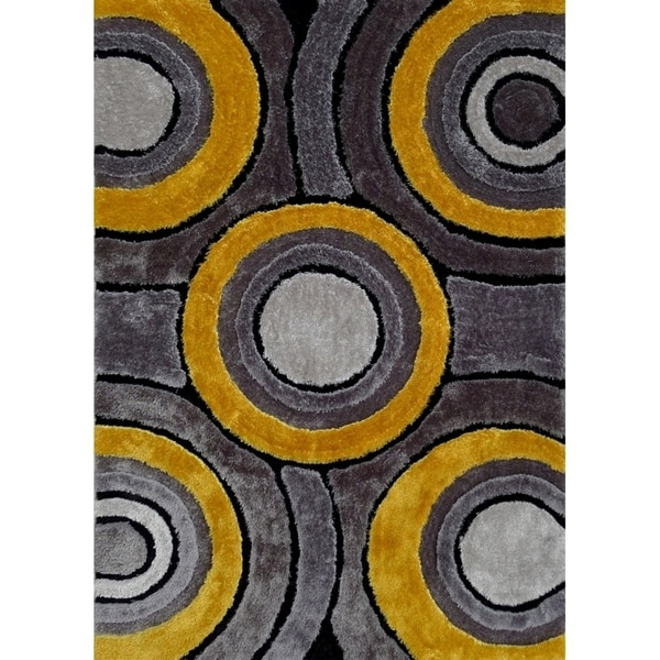 Shop Hand Tufted Grey With Yellow Area Rug With Geometric
