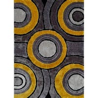 Hand Tufted Grey with Yellow Area Rug with Geometric Pattern - 5' x 7'