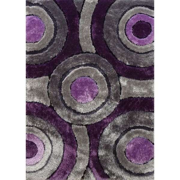 Hand Tufted Grey with Purple Area Rug with Geometric Pattern - 5' x 7'