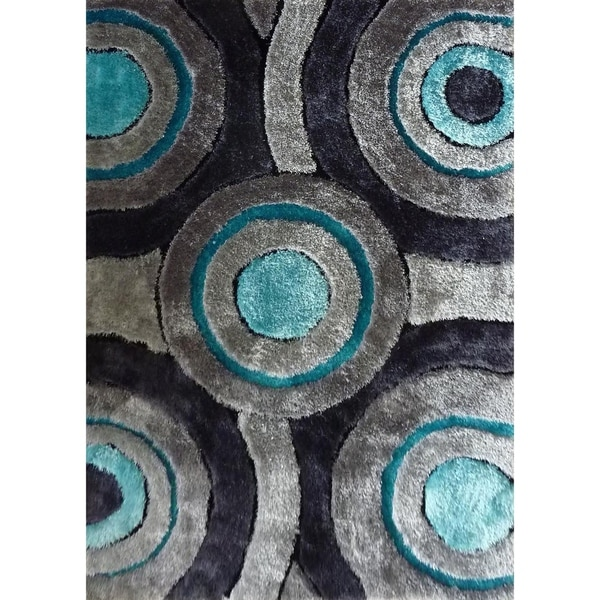 Hand Tufted Grey with Blue Area Rug with Geometric Pattern - 5' x 7'