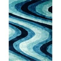 Turquoise Geometric Pattern 5'X7' Hand Tufted Shag Rug - 5' x 7'