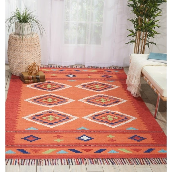 Nourison Baja Moroccan Orange/Red Area Rug - 5' x 7'