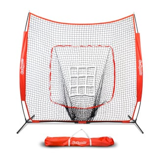 GoSports 7' x 7' Baseball & Softball Practice Hitting & Pitching Net with Bonus Strike Zone, Great for All Skill Levels