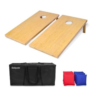 GoSports 4' x 2' Bamboo Cornhole Set with 8 Bean Bags & Carrying Case - Premium All Weather Design