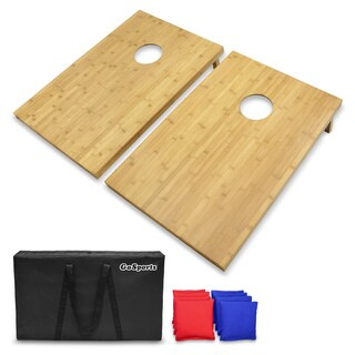 GoSports 3' x 2' Bamboo Cornhole Set with 8 Bean Bags & Carrying Case - Premium All Weather Design