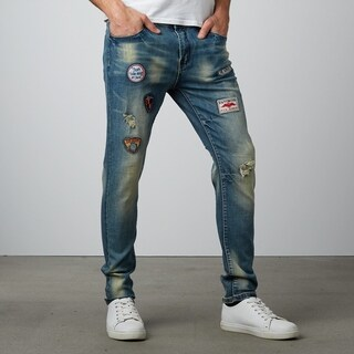 Fashion Middle Blue Ripped Badges Skinny