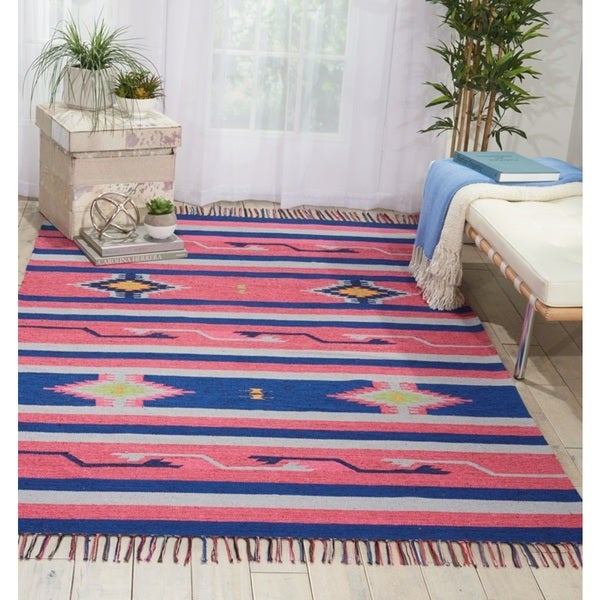 "Nourison Baja Moroccan Pink/Blue Area Rug - 3'6"" x 5'6"""