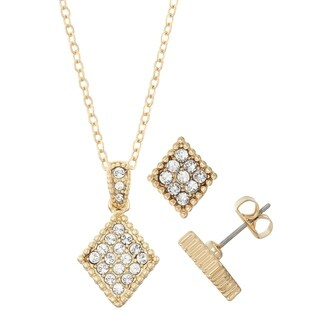 Diamond Shape Crystal Stud Earrings And Bead Trim Necklace Set