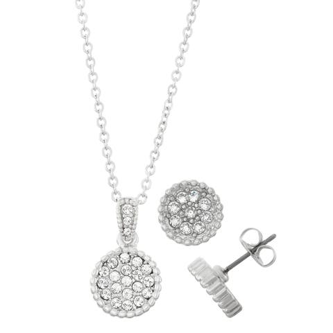 Rhodium Plated Circle Shape Crystal Stud Earrings and Bead Trim Necklace Set