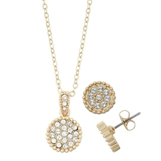 14K Gold Plated Circle Shape Crystal Stud Earrings and Bead Trim Necklace Set