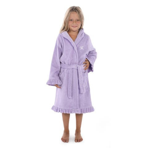 Sweet Kids Ruffled Purple Turkish Cotton Hooded Terry Bathrobe White Script Initial