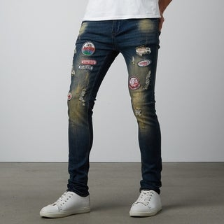 Dark Blue Ripped Skinny Jeans With Badges (More options available)