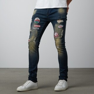 Dark Blue Ripped Skinny Jeans With Badges