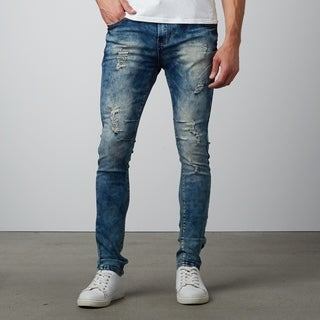 Shinny Fit Blue Destroyed Denim Jeans
