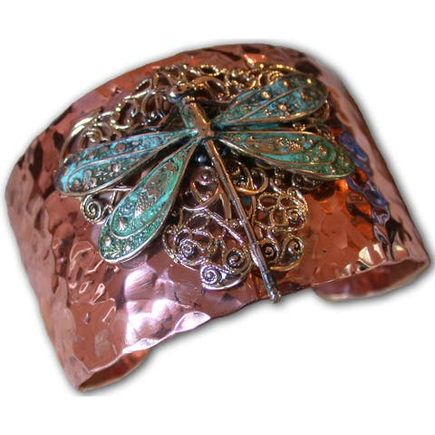 Handmade Forged Copper, Patina Neo-Victorian Dragonfly Cuff (USA)