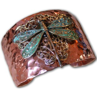 Handmade Forged Copper and Patina Brass Neo-Victorian Dragonfly with Filigree Cuff Bracelet by Elaine Coyne (USA)