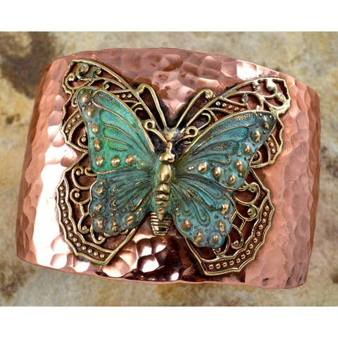 Handmade Forged Copper Patina Neo-Victorian Butterfly Cuff (USA)