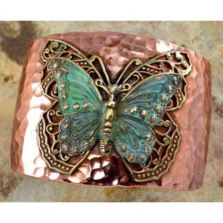 Handmade Forged Copper and Patina Brass Neo-Victorian Butterfly with Filigree Cuff Bracelet by Elain (United States)