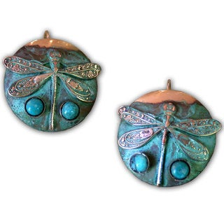 Handmade Verdigris Patina Solid Brass Classic Dragonfly on Circle Earrings with Turquoise by Elaine Coyne